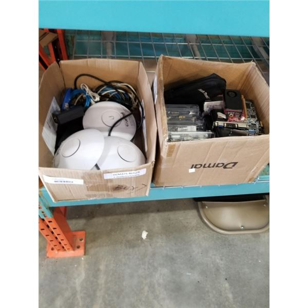 2 BOXES OF COMPUTER HARDWARE AND WIFI ACCESS POINTS