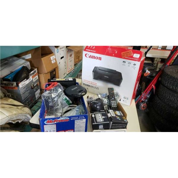 2 boxes of electronics and canon printer