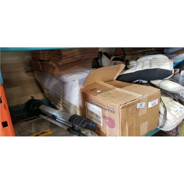 BOX OF PLASTIC BAG ROLLS AND LOT OF PAPER BAGS