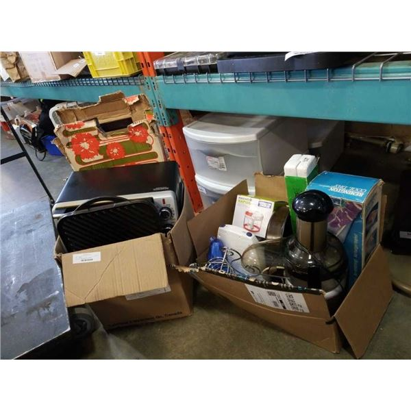 2 boxes of kitchen appliances and items