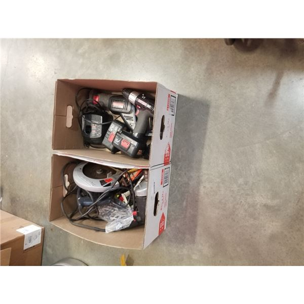 2 BOXES OF TOOLS, SKILSAW, CRAFTSMAN DRILL, CRAFTSMAN CORDLESS TOOLS