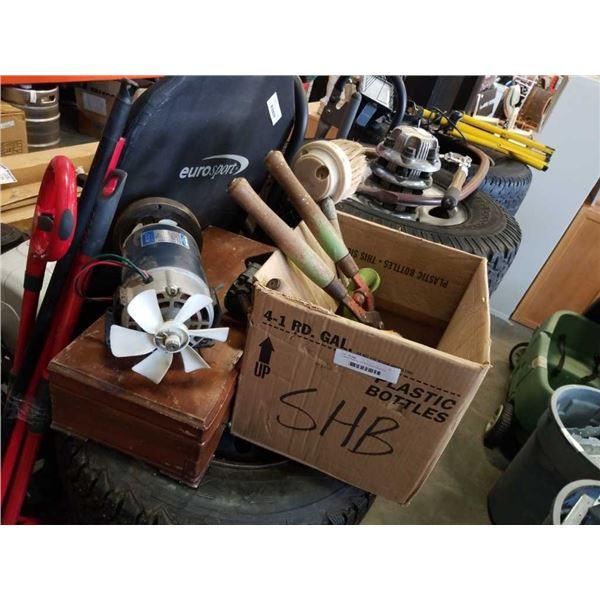 2 electric motors, box of tools and parts box