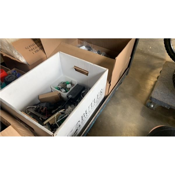 2 BOXES OF ELECTRONICS, HARDWARE, CONNECTORS