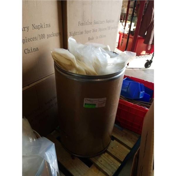 Cardboard barrel of plastic bags