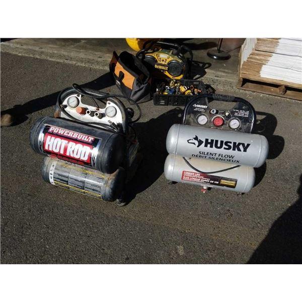 Powerbuilt hot rod and husky silent flow dual tank air compressors both working