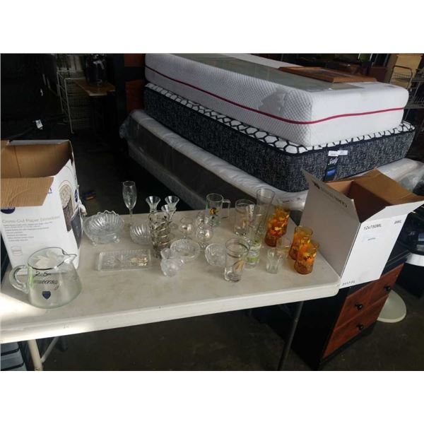 2 BOXES OF GLASSWARE, BAR GLASSES, PITCHER, CRYSTAL