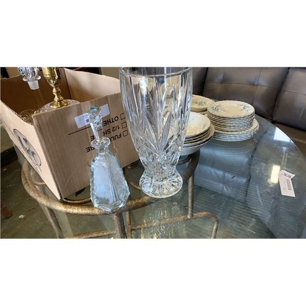 Box of crystal vases, decanters and lamp
