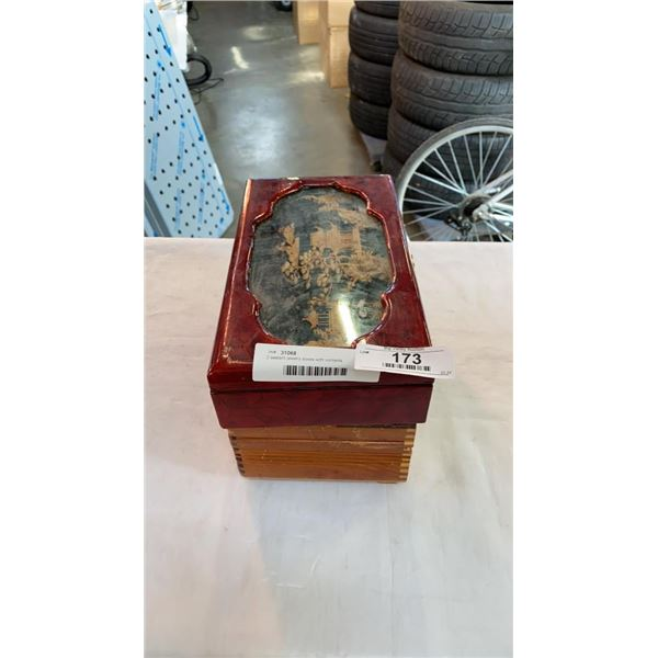 2 eastern jewelry boxes with contents