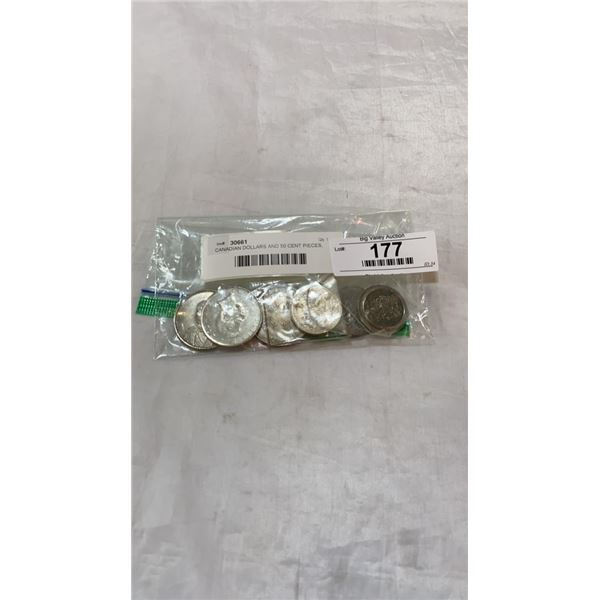 CANADIAN DOLLARS AND 50 CENT PIECES, AMERICAN HALF DOLLAR AND WORLD COINS