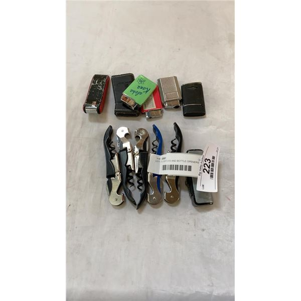 LOT OF LIGHTERS AND BOTTLE OPENERS