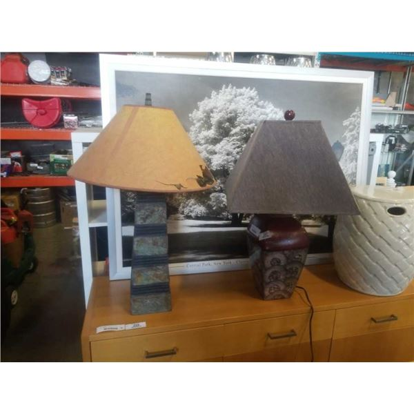 Ceramic and stone table lamps