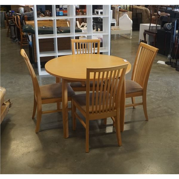 ROUND MAPLE DINING TABLE WITH 4 CHAIRS