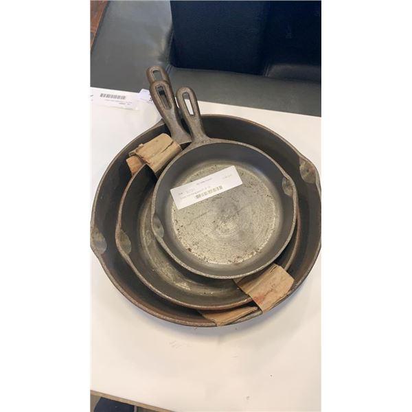 "3 cast iron frying pans 6"", 8"" 10"""