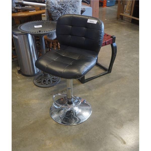 Black leather swivel gas lift bar stool