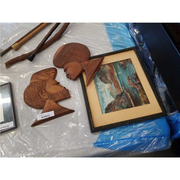 2 WOOD CARVINGS AND LANDSCAPE PAINTING