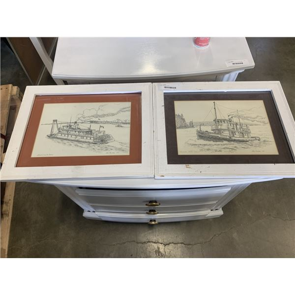 TWO 1980 ETCHINGS BOATS