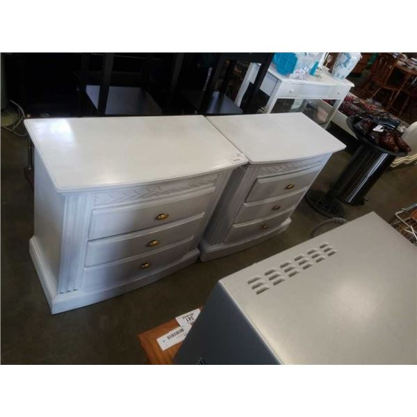 PAIR OF PAINTED WHITE 3 DRAWER DRESSERS