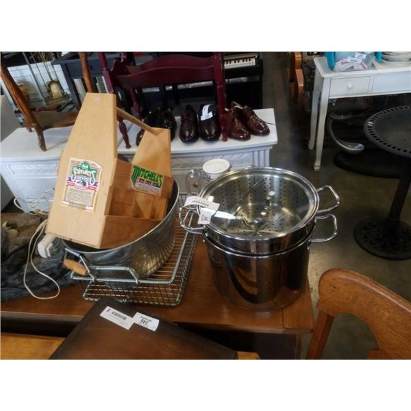 LAGOSTINA POT/VEGETABLE STEAMER, METAL PAIL, WOOD BOTTLE CRATE AND WIRE TRAY