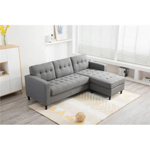 BRAND NEW GREY TUFTED REVERSIBLE SECTIONAL SOFA - RETAIL $899 COTTON LINEN FABRIC 5' X 7'