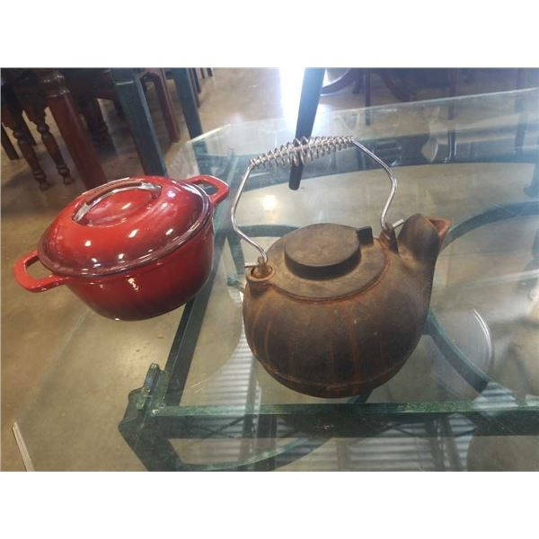 KITCHEN AID ENAMEL DUTCH OVEN AND CAST IRON KETTLE