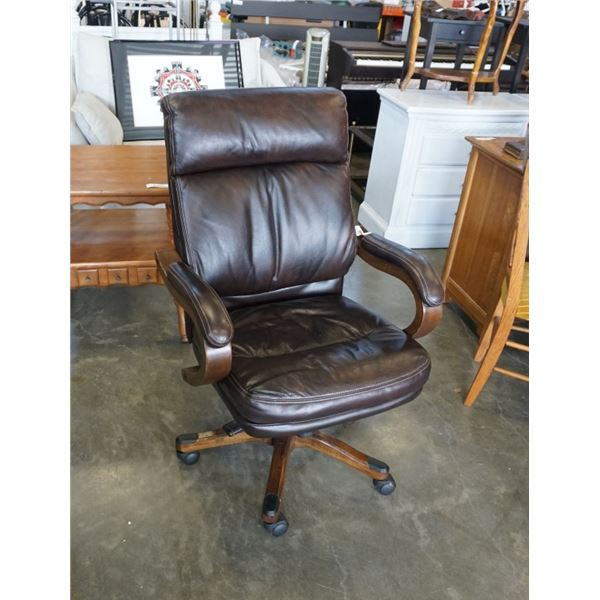 WOOD FRAMED LEATHER OFFICE CHAIR