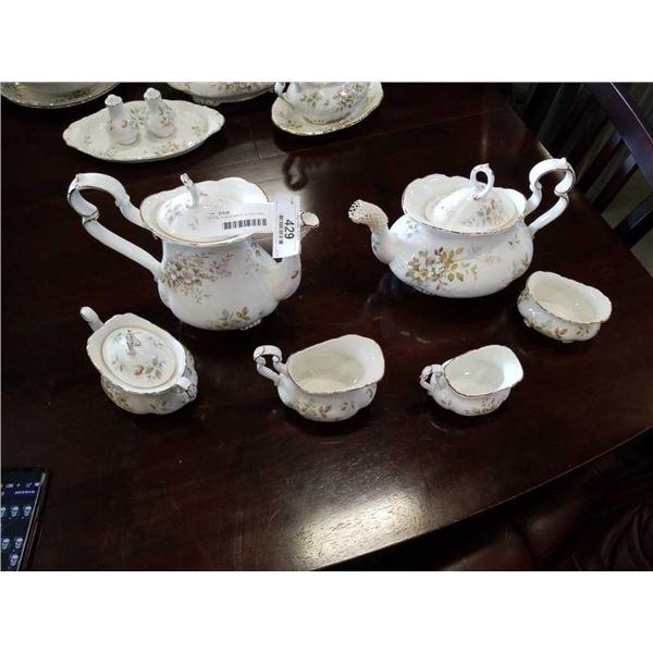 ROYAL ALBERT MADE IN ENGLAND HAWORTH TEA POT W/ CREAM AND SUGAR, AND COFFEE POT W/ CREAM AND SUGAR