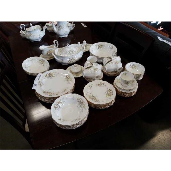 ROYAL ALBERT MADE IN ENGLAND HAWORTH 8 PLACE 7 PIECE DINNER SET W/ EXTRA TEA SETTING, GRAVY BOAT, 9