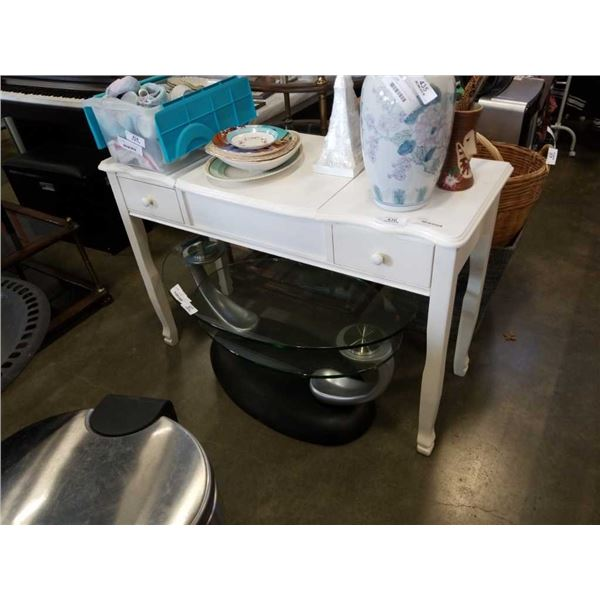 PAINTED WHITE VANITY WITH LIFT TOP MIRROR