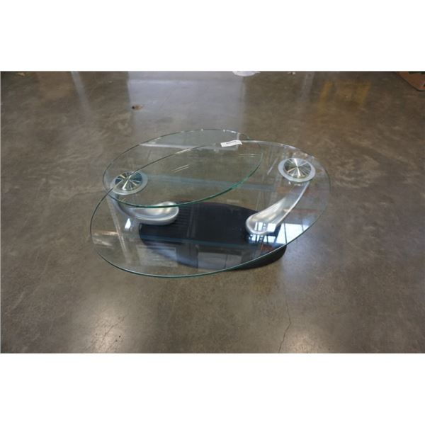 MODERN GLASSTOP SWIVEL COFFEE TABLE WITH CAST IRON BASE