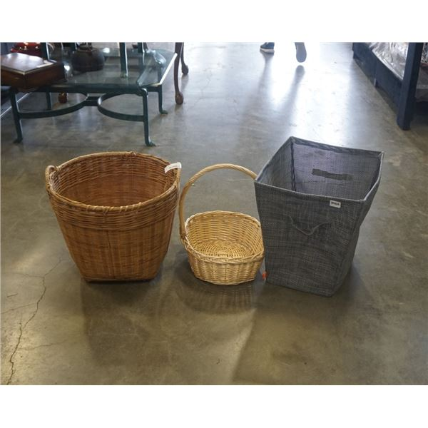 LAUNDRY HAMPER AND 2 WICKER BASKETS