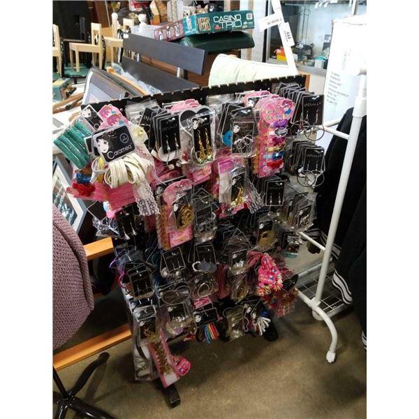 500 new hair accessories on pegboard display rack