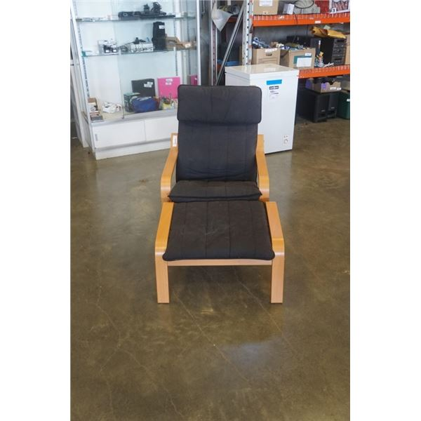 BENTWOOD CHAIR AND FOOTSTOOL