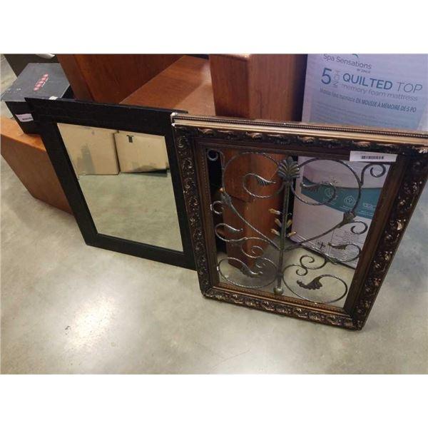 Framed Bevelled mirror and framed metal art