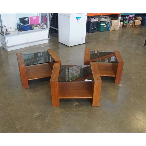 3 PIECE MCM GLASS AND WOOD ENDTABLES