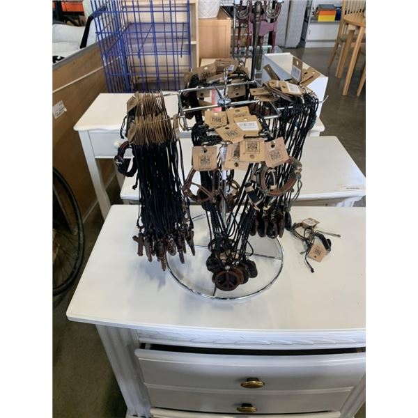 100 leather necklaces and retail stand