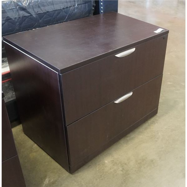 MODERN 2 DRAWER LATERAL FILING CABINET APPX 3 FOOT WIDE 29 INCHES TALL, 22 INCHES DEEP