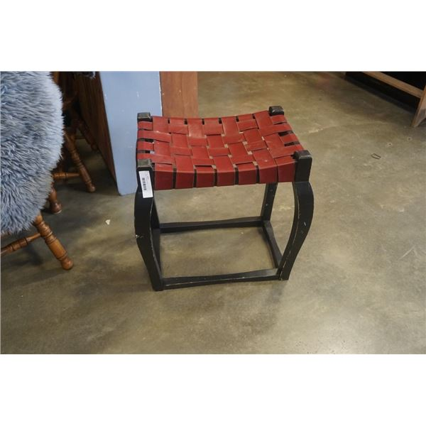 Leather strap woven stool