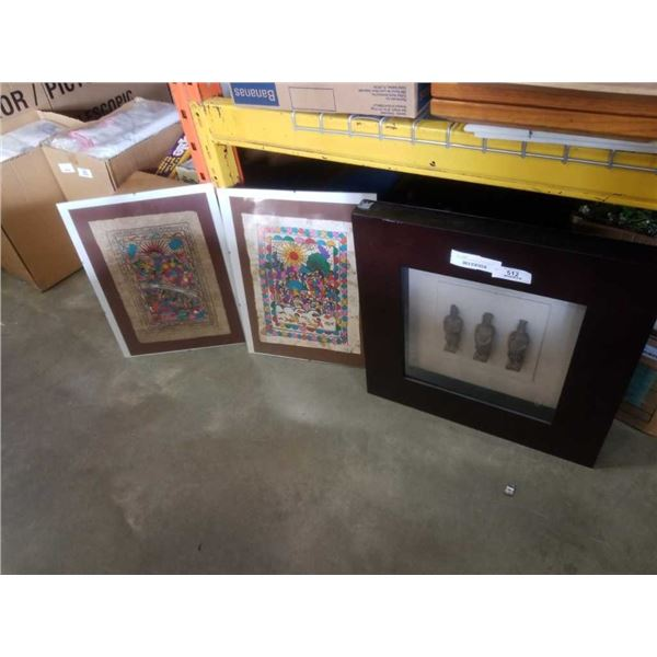 2 PAINTINGS ON PAPER AND SHADOWBOX TERRA COTTA WARRIORS
