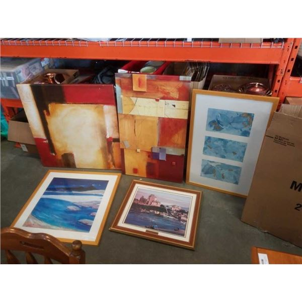 LARGE BOX OF CANVAS AND FRAMED PRINTS