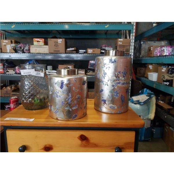 2 SILVER EASTERN CANNISTERS AND GLASS VASE