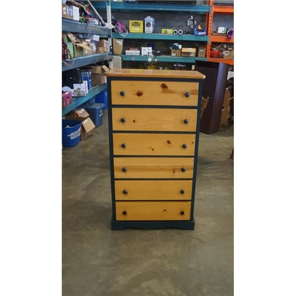 6 DRAWER GREEN AND PINE CHEST OF DRAWERS