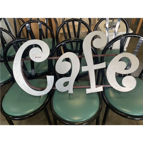 METAL CAFE SIGN 18 INCHES TALL 37 INCHES WIDE