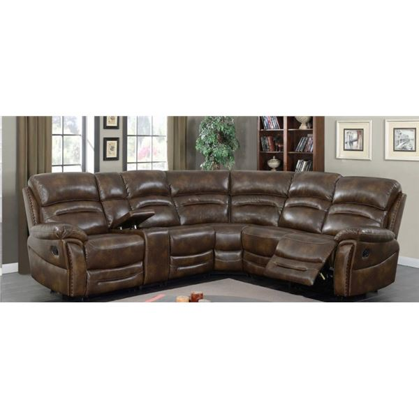 BRAND NEW BROWN STITCHED AIR LEATHER 3PC CORNER RECLINING SECTIONAL W/ CONSOLE, CUP HOLDERS AND BRAS