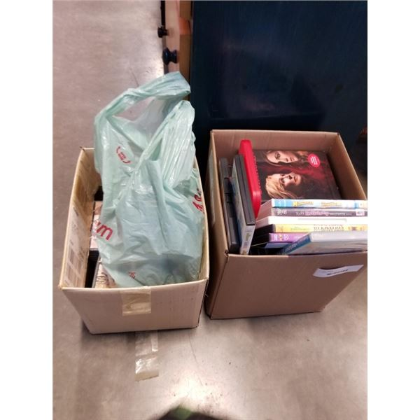 2 BOXES OF DVDS AND CDS