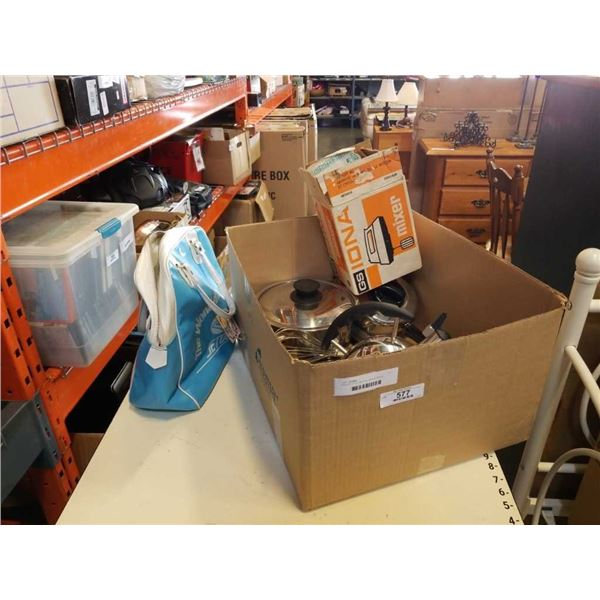 BOX OF POTS, KETTLE, MIXING BOWL, ELECTRIC HAND MIXER