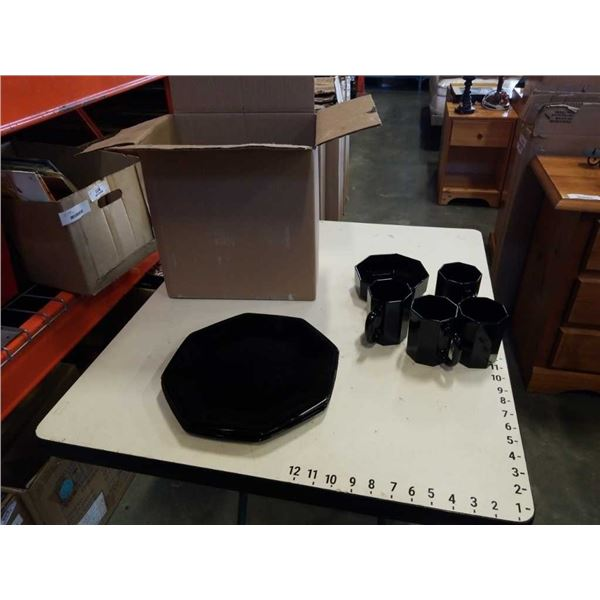 BLACK MID CENTURY MADE IN FRANCE DISH SET