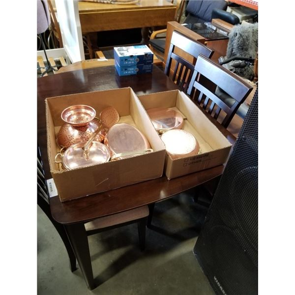 2 Boxes of french copper pot ,pans strainer, spatula and more