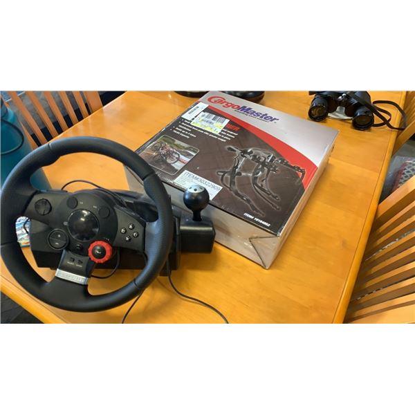 Cargomaster 2 bike carrier and logitech driving wheel