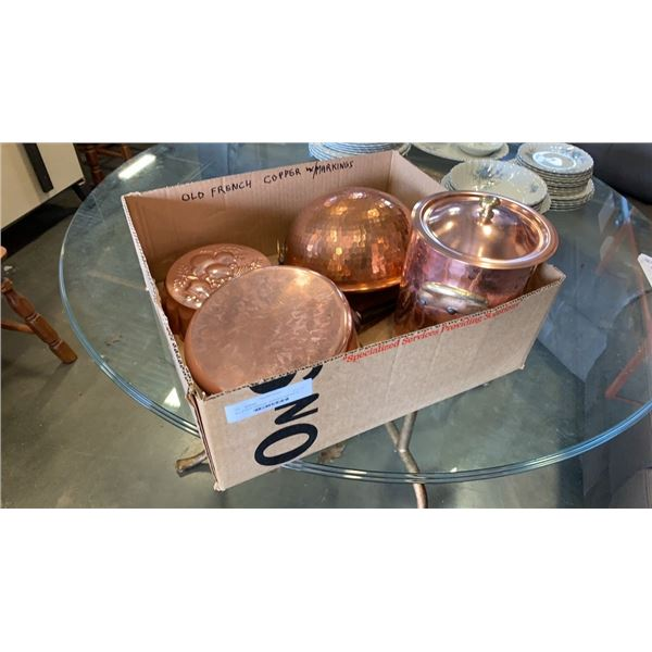 Box of french copper pot , ice bucket, bowl and more