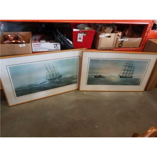 2 LARGE SIGNED LEP TALL SHIP SAILING PRINTS